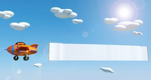 Cartoon airplane flying with empty advertising banner under blue sky. 3D rendering Stock Images