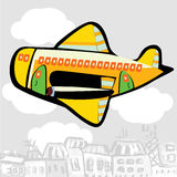 Cartoon airplane flying over the city Royalty Free Stock Photos