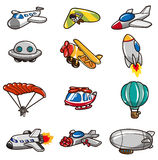 Cartoon airplane icon. Vector drawing Royalty Free Stock Photo