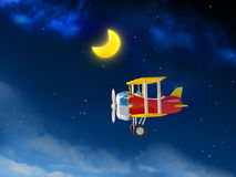 Cartoon airplane in night sky Royalty Free Stock Photography