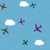 Cartoon airplane path seamless pattern Stock Image