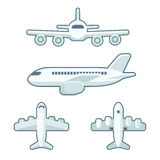 Cartoon airplane set. In flat design style. Front view and side view, from above and below. Vector illustration isolated on white background Royalty Free Stock Photography