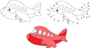 Cartoon airplane. Vector illustration. Coloring and dot to dot g Stock Photos