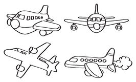 Cartoon Airplane Vector Line Art Illustration. Set of four vector outline illustration of cartoon airplane in different perspective views isolated on white vector illustration