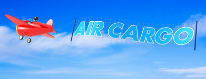 Cartoon Airplanes with Air Cargo Banner Royalty Free Stock Image