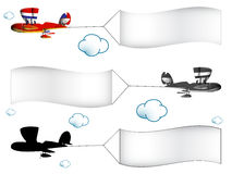 Cartoon airplanes with banners. In the cloudy sky, abstract vector art illustration; image contains transparency royalty free illustration