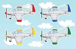 Cartoon airplanes set Stock Photos