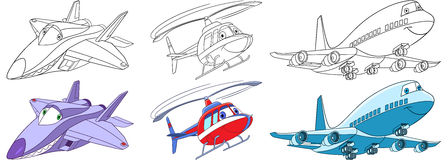 Cartoon airplanes set. Cartoon flying transport set. Collection of aircrafts. Supersonic f22 raptor airplane, helicopter, passenger airliner. Coloring book pages Royalty Free Stock Photos