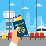 Cartoon Airport Waiting Interior of Terminal Hall and Hand Holding Passport   Royalty Free Stock Images