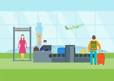 Cartoon Airport Waiting Security Control. Vector Royalty Free Stock Photo