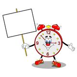 A cartoon alarm clock. Holding a copy space placard Royalty Free Stock Images