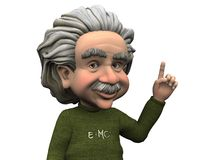 Cartoon Albert Einstein having an idea. Cartoon Albert Einstein holding his hand up with his index finger extended, like he is having an idea. White background vector illustration