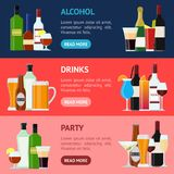 Cartoon Alcoholic Beverages Drink Banner Horizontal Set.. Cartoon Alcoholic Beverages Tasty Drink Banner Horizontal Set for Celebration Bar, Pub and Restaurant Stock Photo
