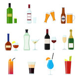 Cartoon Alcoholic Beverages Drink Color Icons Set. Vector. Cartoon Alcoholic Beverages Tasty Drink Color Icons Set for Celebration Bar, Pub and Restaurant Flat Stock Image