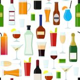 Cartoon Alcoholic Beverages Drink Seamless Pattern Background. Vector. Cartoon Alcoholic Beverages Tasty Drink Seamless Pattern Background on a White for stock illustration