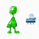 Cartoon alien. 3d render of cartoon alien Stock Photography