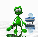 Cartoon alien. 3d render of cartoon alien Stock Image