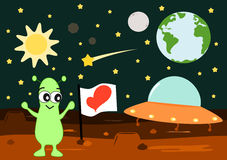 Cartoon alien bring love flag on mars funny cute illustration Stock Photo