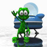 Cartoon alien character. Quality 3d render of cartoon alien Royalty Free Stock Photo