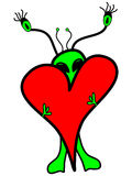 Cartoon Alien Clip Art Vector Illustration. This hand drawn, bright green cartoon alien holding a bright red heart is ready for your next extraterrestrial Stock Photography