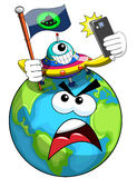 Cartoon alien conquering and taking selfie with annoyed earth  Royalty Free Stock Photography