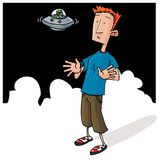 Cartoon Alien encounter with small UFO Stock Photo