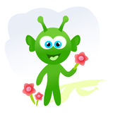 Cartoon alien with flowers Stock Photography