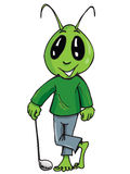 Cartoon of an alien with a golf stick Royalty Free Stock Photos