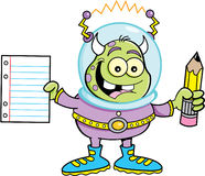 Cartoon alien holding a paper and pencil Stock Photography