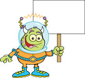 Cartoon alien holding a sign Royalty Free Stock Photos