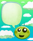 Cartoon Alien kid with balloon text Stock Image