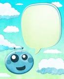 Cartoon Alien kid with balloon text Stock Image