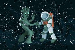 Cartoon alien meeting and handshake in space on dark starfield background vector illustration