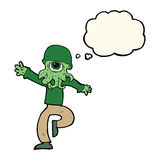 cartoon alien monster man with thought bubble Royalty Free Stock Photos