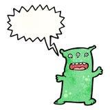Cartoon alien monster shouting. Retro cartoon with texture. Isolated on White Stock Photos