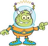 Cartoon alien pointing stock illustration