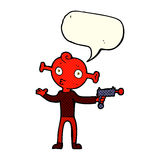 Cartoon alien with ray gun with speech bubble Royalty Free Stock Photography