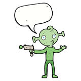 cartoon alien with ray gun with speech bubble Royalty Free Stock Photos