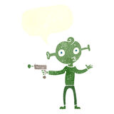 cartoon alien with ray gun with speech bubble Stock Photography