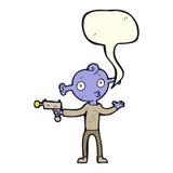 Cartoon alien with ray gun with speech bubble Royalty Free Stock Photo