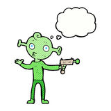 Cartoon alien with ray gun with thought bubble Stock Photo