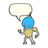 cartoon alien robot with speech bubble Royalty Free Stock Images