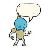cartoon alien robot with speech bubble Royalty Free Stock Photo