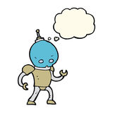 Cartoon alien robot with thought bubble Stock Images