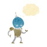 cartoon alien robot with thought bubble Stock Photos