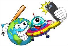 Cartoon alien selfie earth bat  Stock Photos
