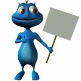 Cartoon alien with Sign Royalty Free Stock Photos