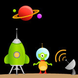 Cartoon alien and space Royalty Free Stock Photography