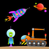 Cartoon alien and space Stock Photo