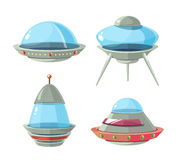 Cartoon alien spaceship, spacecrafts and ufo vector set Royalty Free Stock Photo